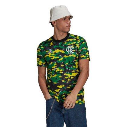 Camisa Adidas Flamengo Pré Jogo 2021 Masculina - Amarelo e Verde