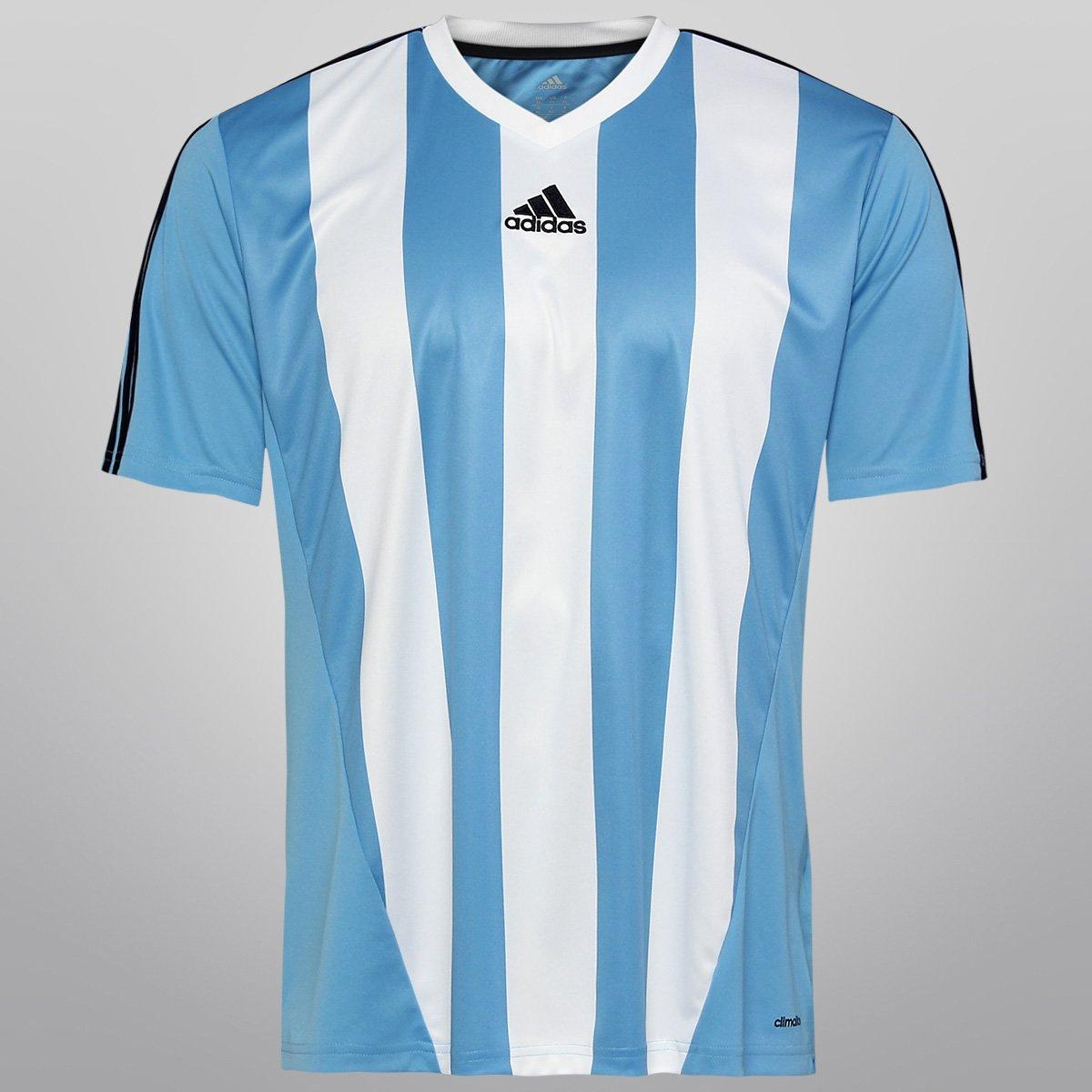 Camisa Adidas Inspired Masculina Azul Claro e Branco