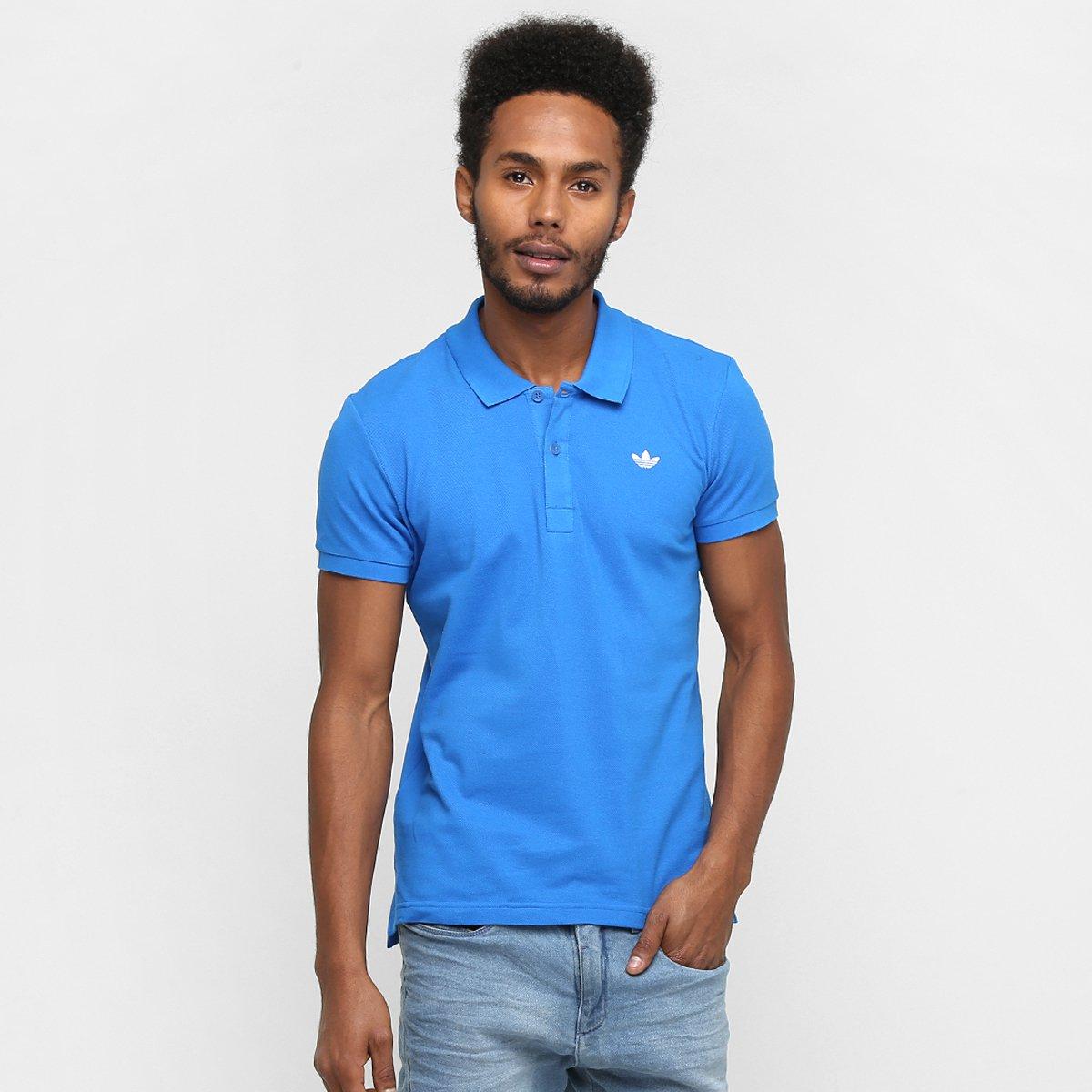 c4e1dff5d7 Camisa Adidas Originals Adi Polo Pique - Azul e Branco - Compre ...