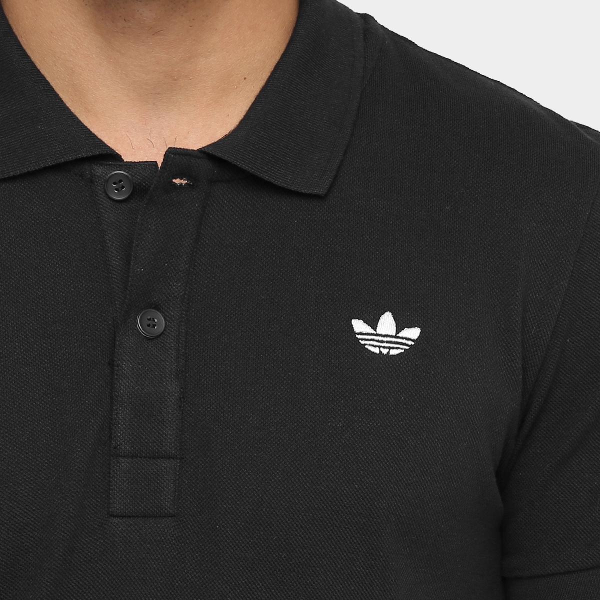 0161e61a86 Camisa Adidas Originals Adi Polo Pique - Preto e Branco - Compre ...