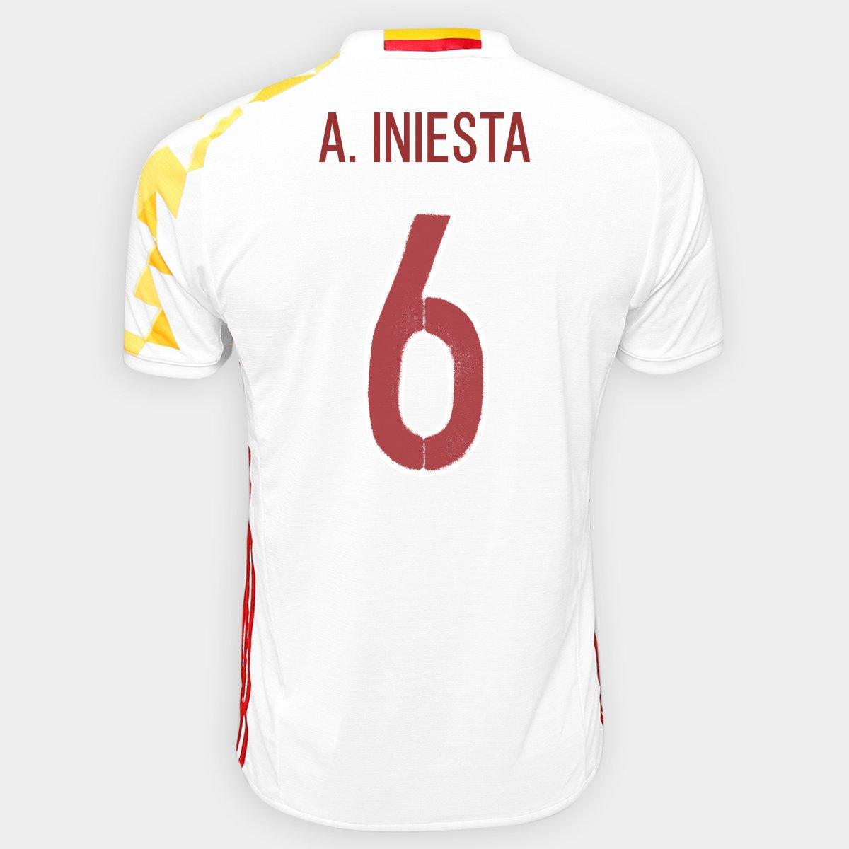 Camisa Adidas Seleção Espanha Away 2016 nº 6 - A. Iniesta - Compre Agora  6157e99806c41