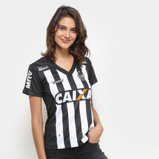 Camisa Atlético-MG I 2018 S/N° Torcedor Topper Feminina - Preto+Branco