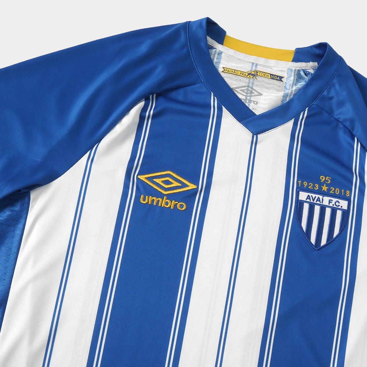 be4a995c46 Camisa Avaí I 18 19 s n° Torcedor Umbro Masculino - Azul e Branco ...