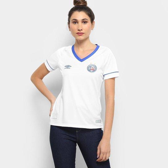 Camisa Bahia I 2018 s/n° SK-1 Torcedor Umbro Feminina - Branco+Azul