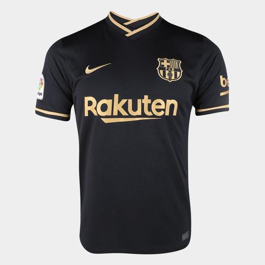 Camisa Barcelona Away 20/21 s/n° Torcedor Nike Masculina - Preto+Dourado