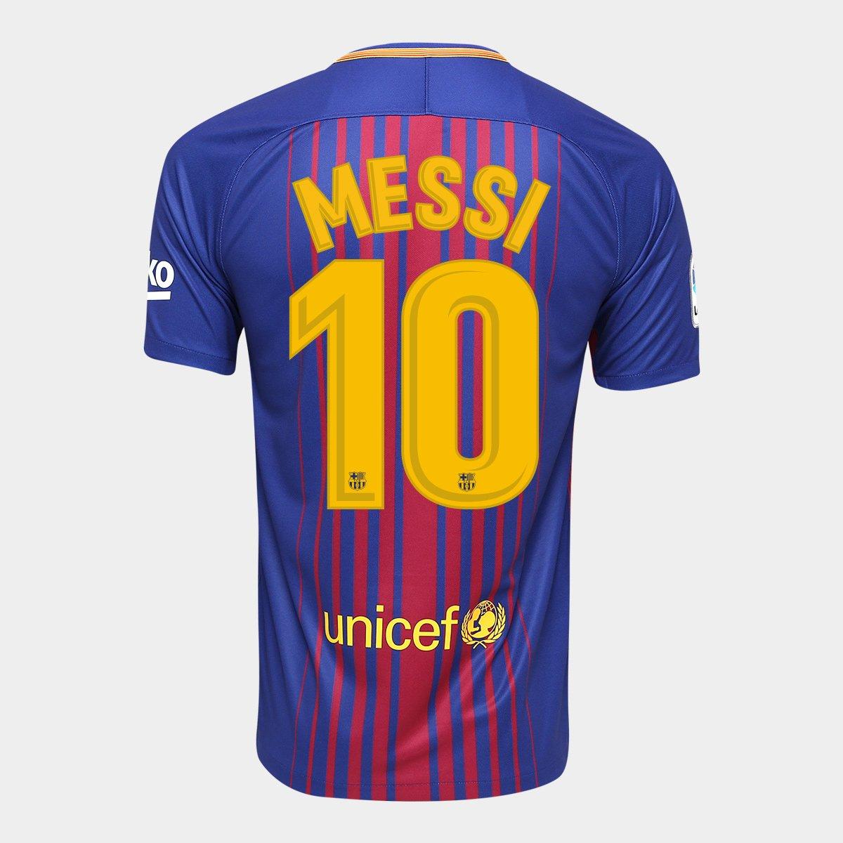4d000336181ba Camisa Barcelona Home 17 18 Nº 10 Messi Torcedor Nike Masculina - Compre  Agora