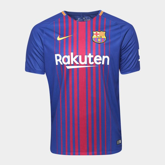 Camisa Barcelona Home 17/18 s/nº Torcedor Nike Masculina - Azul