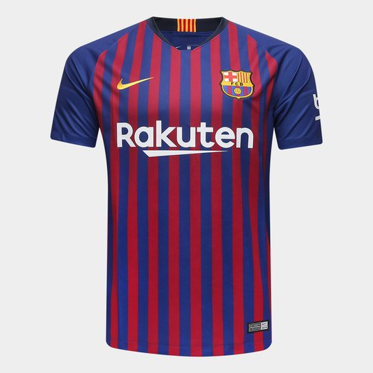 Camisa Barcelona Home 2018 s/n° Torcedor Nike Masculina - Azul+Grená