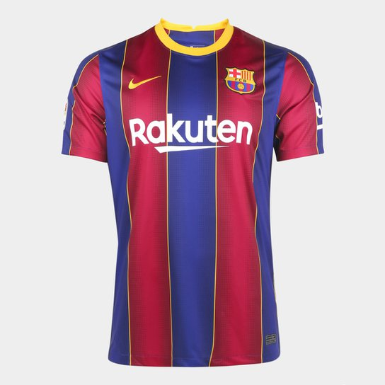 Camisa Barcelona Home 20/21 s/n° Torcedor Nike Masculina - Azul+Grená