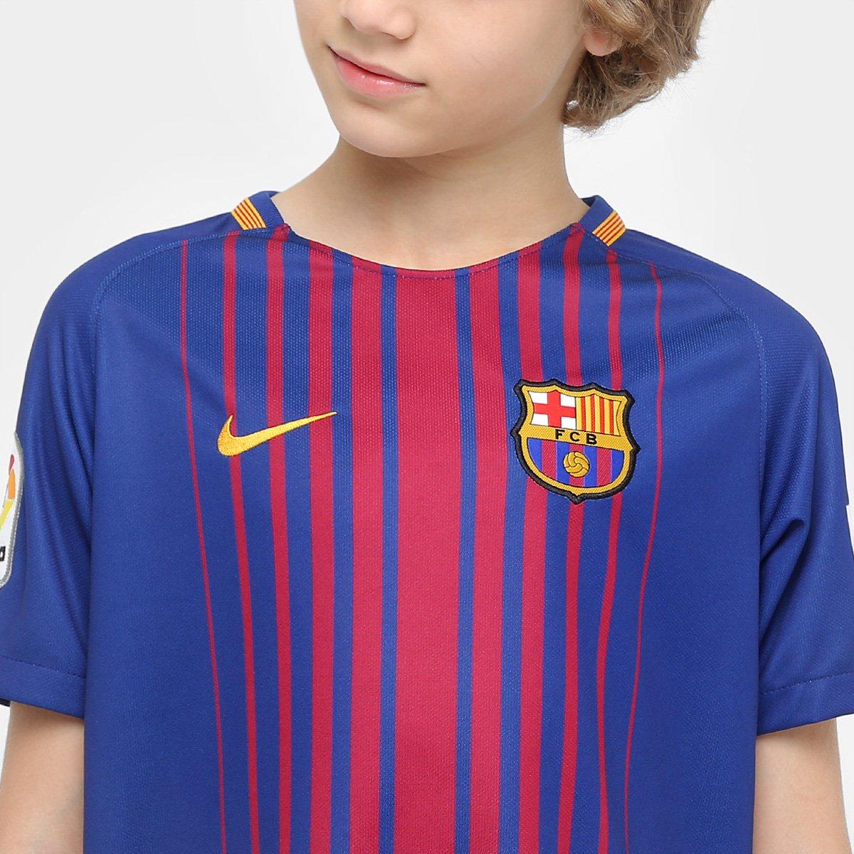 Camisa Barcelona Juvenil Home 17 18 s nº - Torcedor Nike - Compre ... 5bd3818002edd