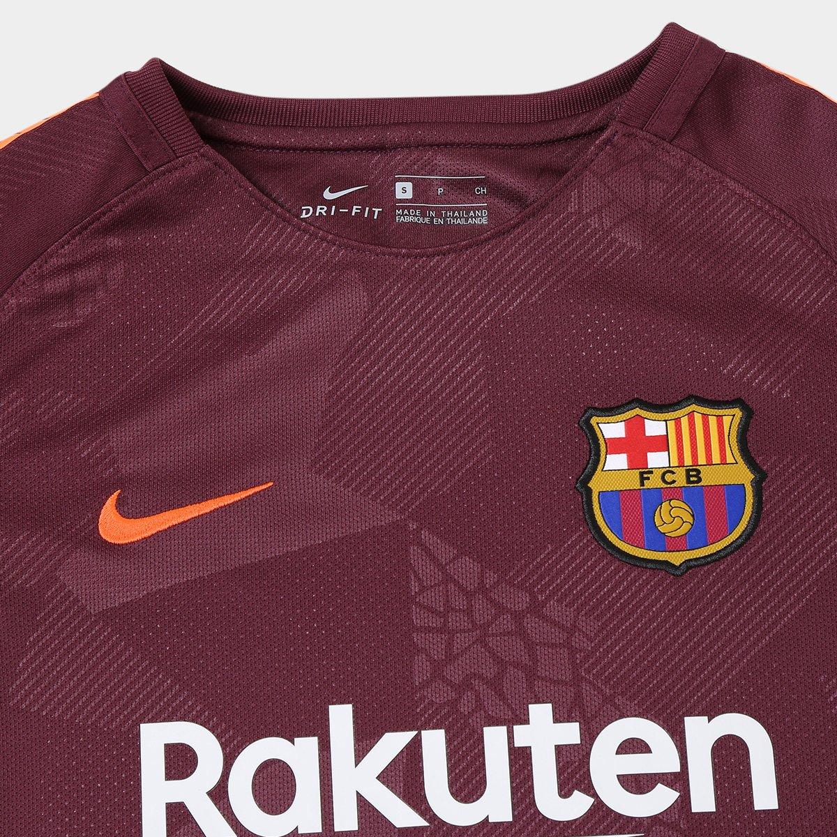 312e338dea Camisa Barcelona Juvenil Third 17 18 s n° - Torcedor Nike - Bordô ...
