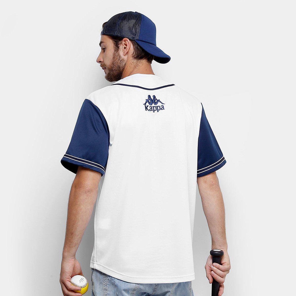 ea2f336b62 Camisa Baseball Kappa Los Angeles 17 Masculina - Branco e Azul ...
