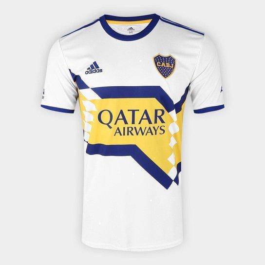 Camisa Boca Juniors Away 20/21 s/n° Torcedor Adidas Masculina - Branco+Azul
