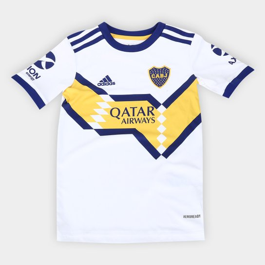 Camisa Boca Juniors Infantil Away 20/21 s/n° Torcedor Adidas - Branco+Azul