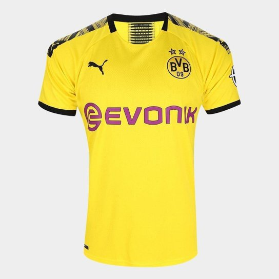 Camisa Borussia Dortmund Home 19/20 s/n° Torcedor Puma Masculina - Amarelo+Preto