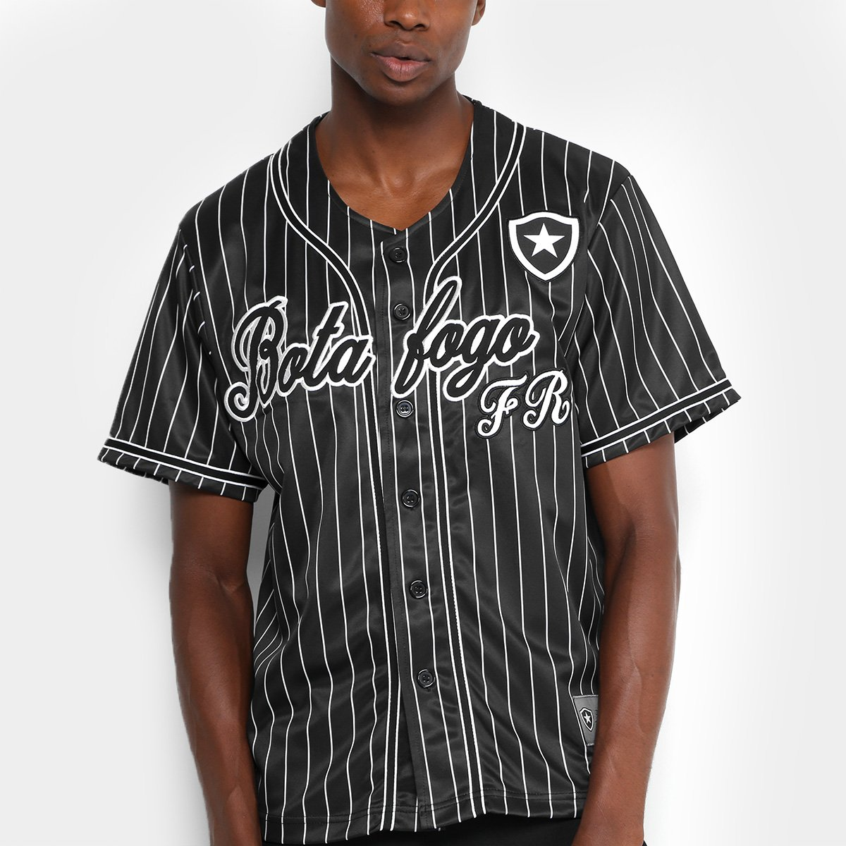 Camisa Botafogo Baseball Masculina - Preto e Branco - Compre Agora ... 96011517f3ba7