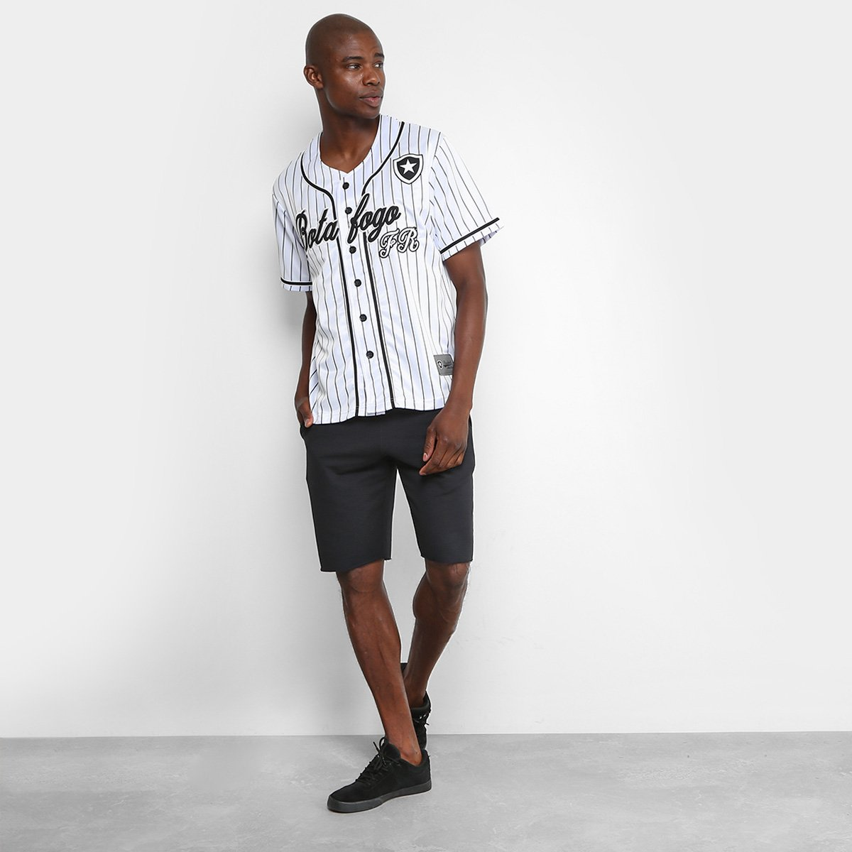 Camisa Botafogo Baseball Masculina - Branco e Preto - Compre Agora ... e9d9be33b4fd8