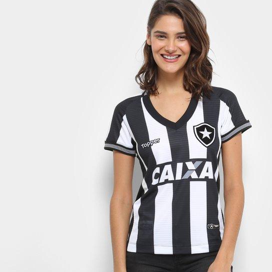 Camisa Botafogo I 2018 s/n° Torcedor Topper Feminina - Preto+Branco