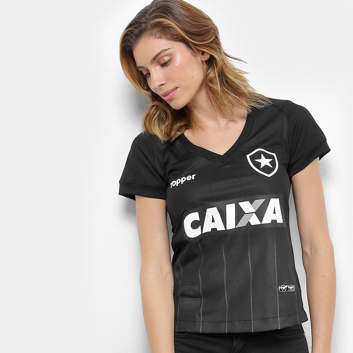 Camisa Botafogo II 2018 s n° Torcedor Topper Feminina - Preto e Chumbo -  Compre Agora  2dc861cdacfc1