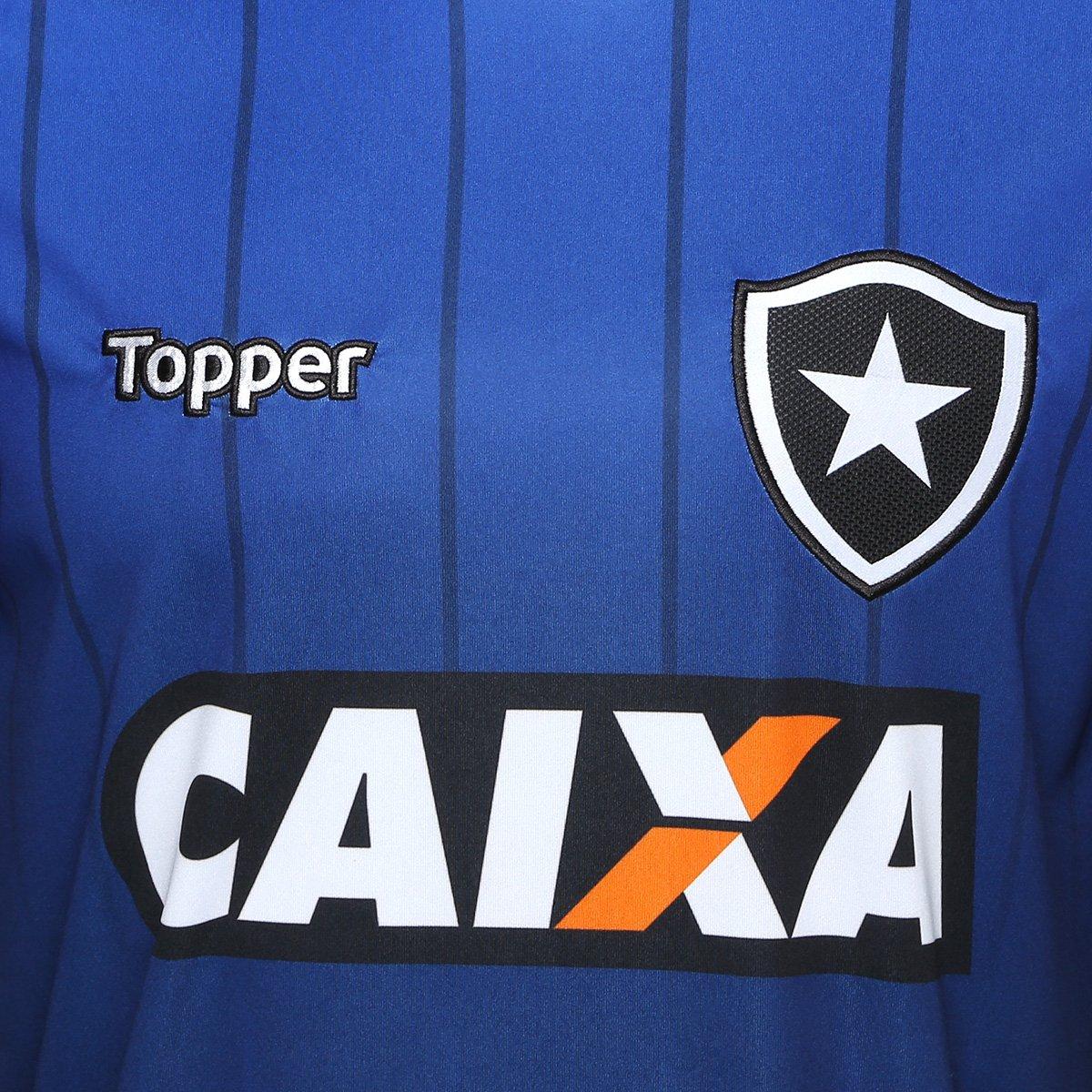 Camisa Botafogo Treino Atleta Topper Masculina - Azul e Preto ... 869e8d8956ad2