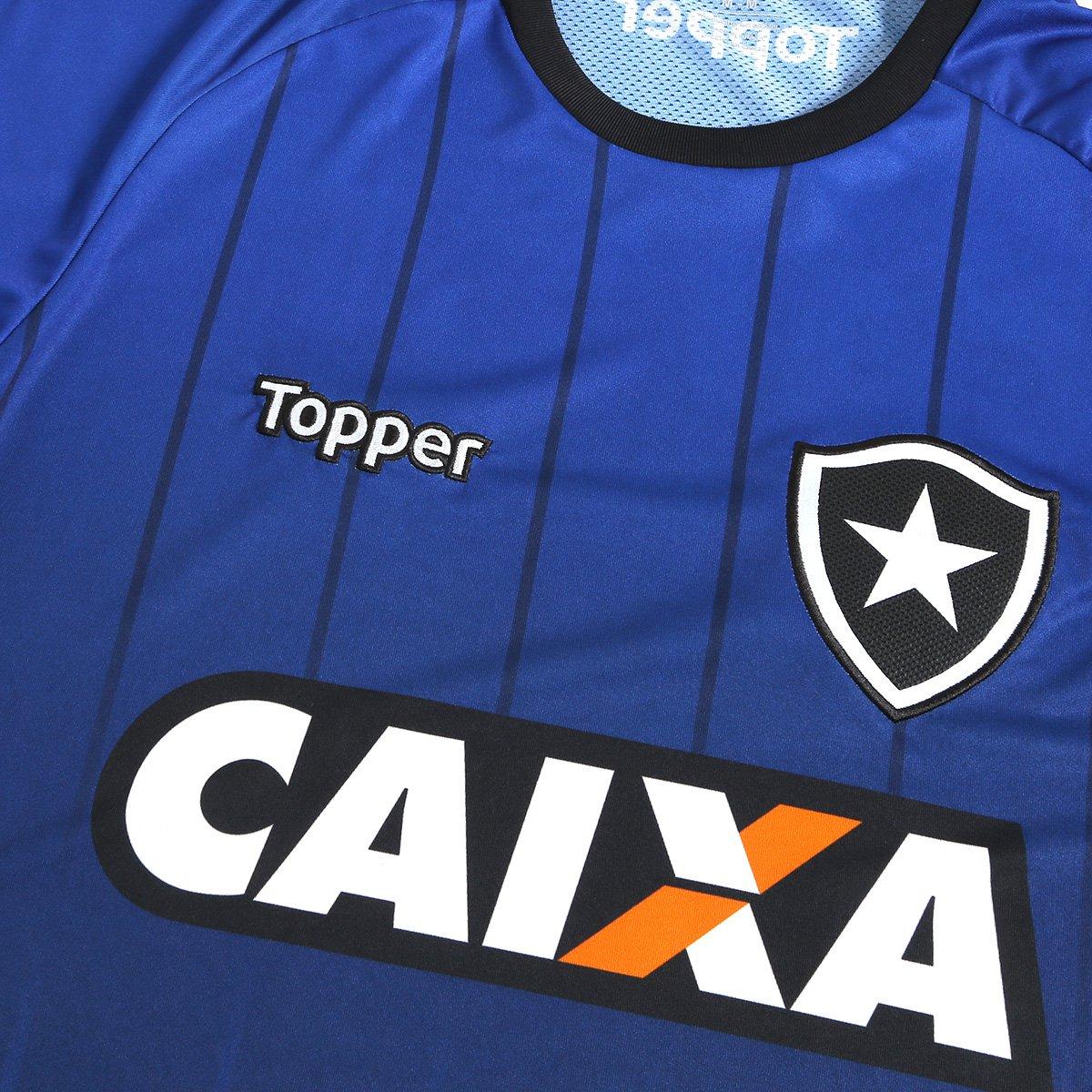 Camisa Botafogo Treino Atleta Topper Masculina - Azul e Preto ... f8b24dd9dac6e
