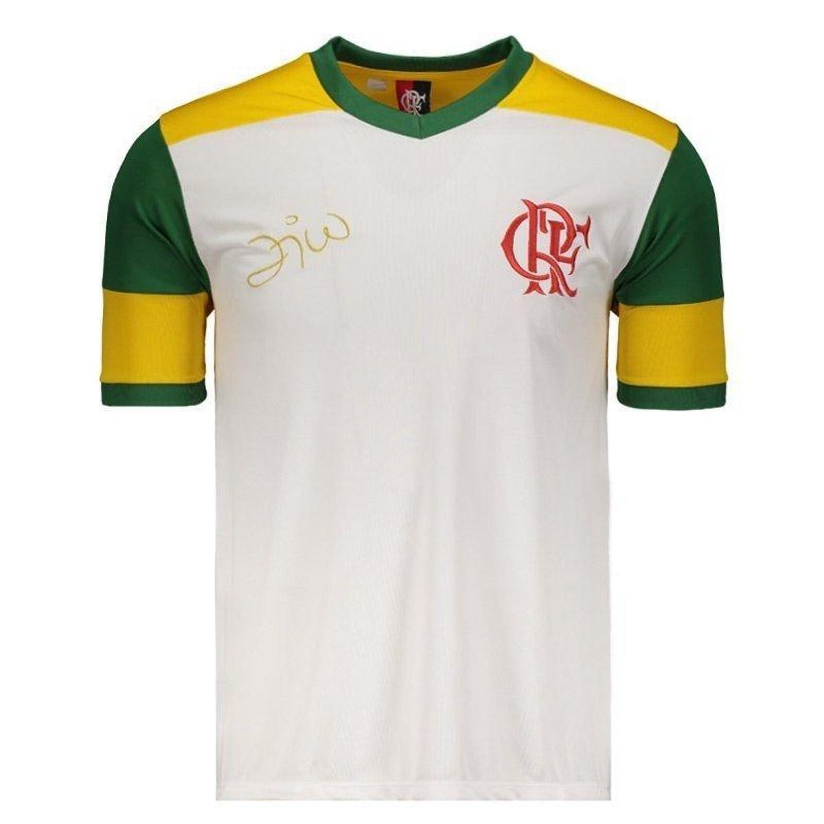 c0c790e146 Camisa Brasil Flamengo Zico Retrô Masculina - Branco - Compre Agora ...