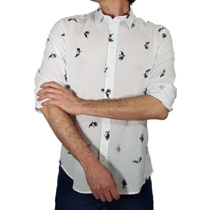 Camisa Canal Surf Estampa Pássaros Linho Masculina - Masculino