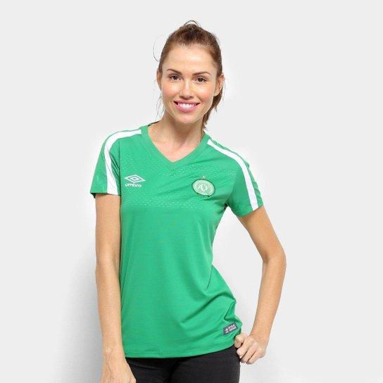 Camisa Chapecoense I 19/20 s/nº Torcedor Umbro Feminina - Verde+Branco