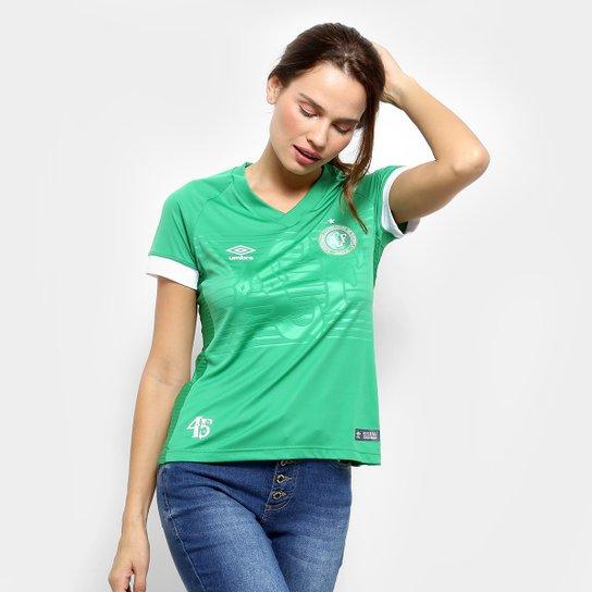 Camisa Chapecoense I 2018 s/n° Torcedor Umbro Feminina - Verde+Branco
