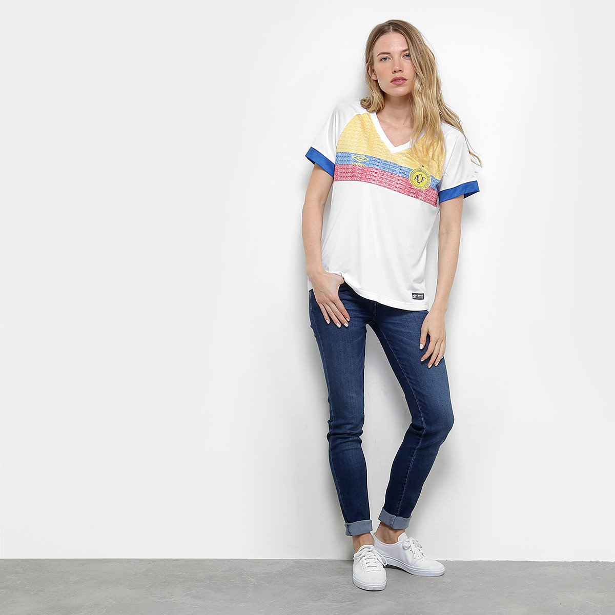Umbro Torcedor n° II e Pasion Branco La Azul Feminina s Chapecoense 2018 Camisa B0Aqf