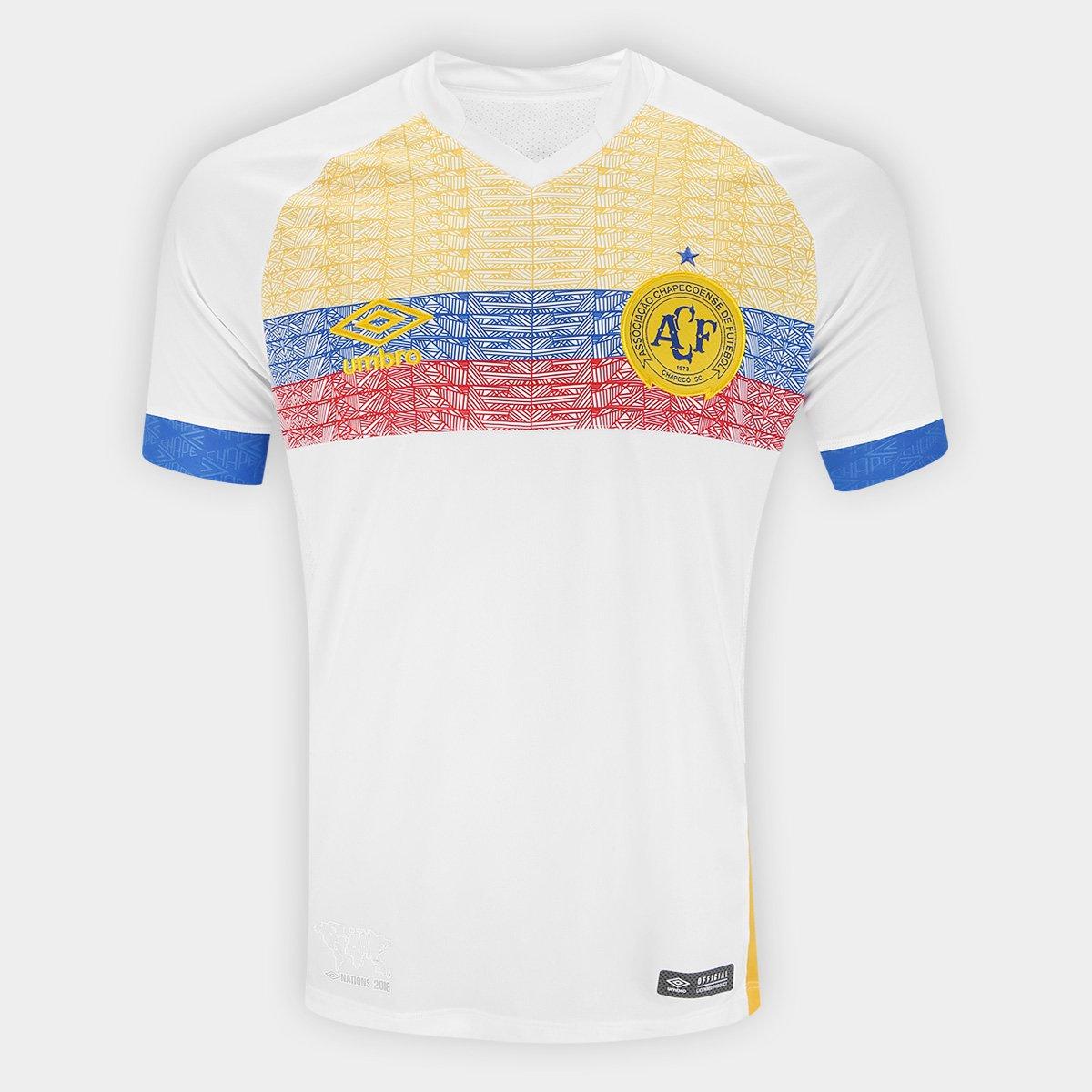 Camisa Chapecoense II 2018 s/n° La Pasion Torcedor Umbro Masculina - Branco e Azul