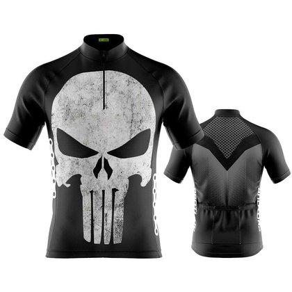 Camisa ciclismo Masculina Manga Curta Pro Tour Justiceiro dry fit proteção uv+50