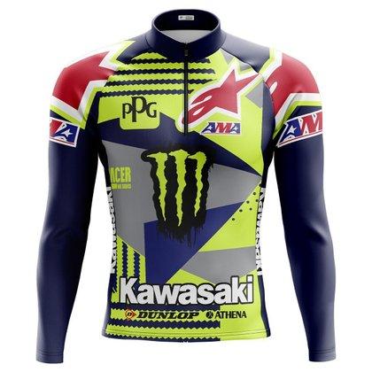 Camisa Ciclismo Masculina Mountain Bike Kawasaki fluor 151