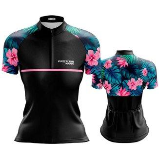 Camisa Ciclismo Mountain Bike Feminina Pro Tour Flor Dry Fit Proteção UV 50+ Com Bolsos