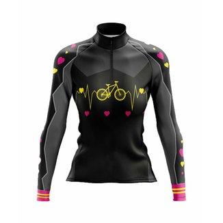 Camisa Ciclismo Mountain Bike Manga Longa Feminina