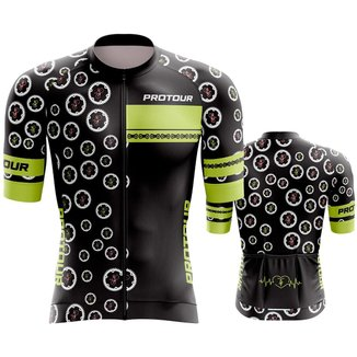 Camisa Ciclismo Pro Tour Premium Verde Coroas Mountain Bike manga aero dry fit proteção uv