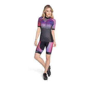 Camisa Ciclista Feminina, Ziper, Manga Curta, Sb937  Trinys