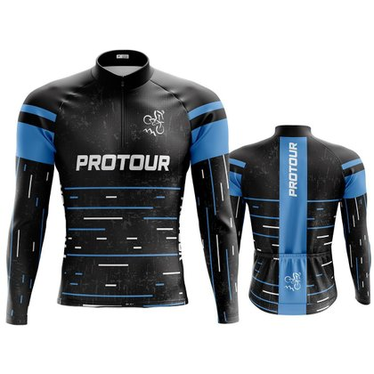 Camisa ciclista Manga Longa Masculina Pro Tour preta dry fit proteção uv  + 50