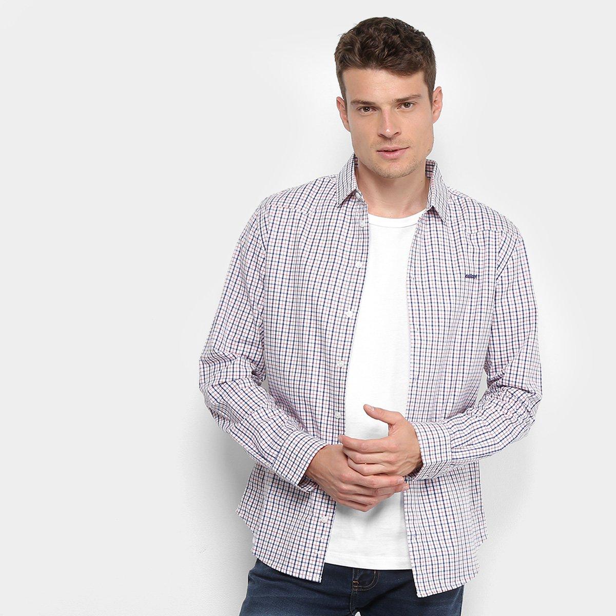 Camisa Colcci Manga Longa Xadrez Slim Masculina - Branco e Azul ... 8eade3728225b