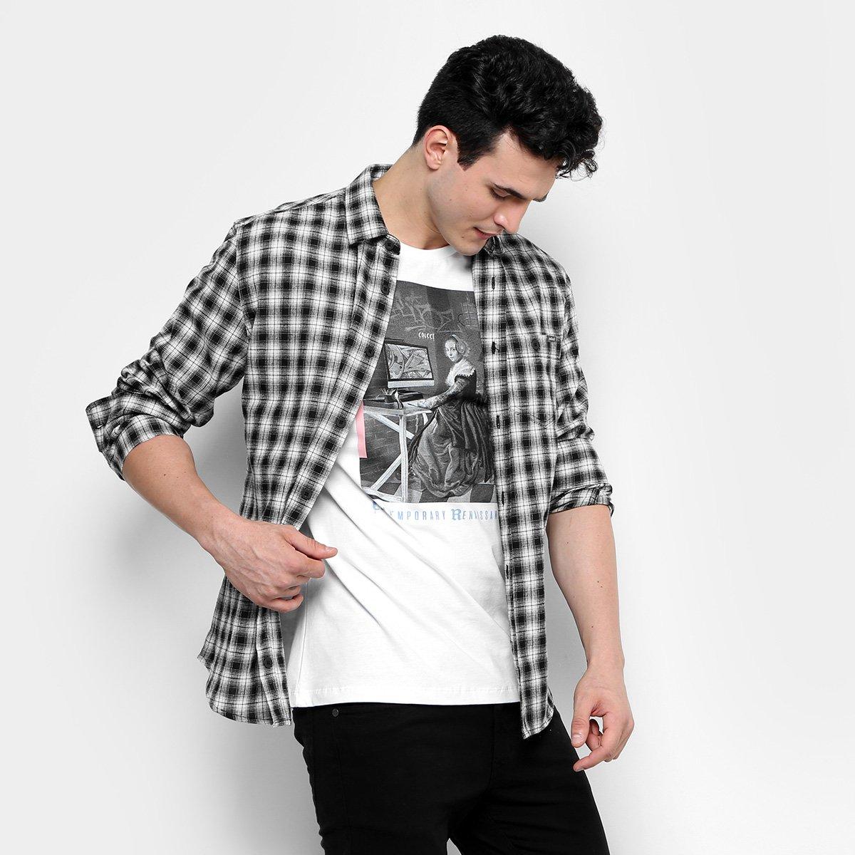 Camisa Colcci ML Xadrez Flanelada Bolso Masculina - Compre Agora ... 7024977e638da