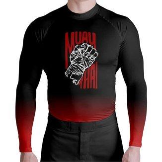 Camisa Compressão UV Muay Thai Atlética Esportes