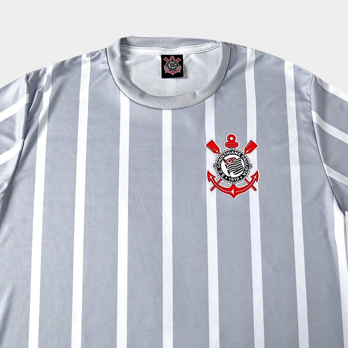 2b5533f49d Camisa Corinthians 2002 n° 7 Masculina - Branco e Cinza - Compre ...