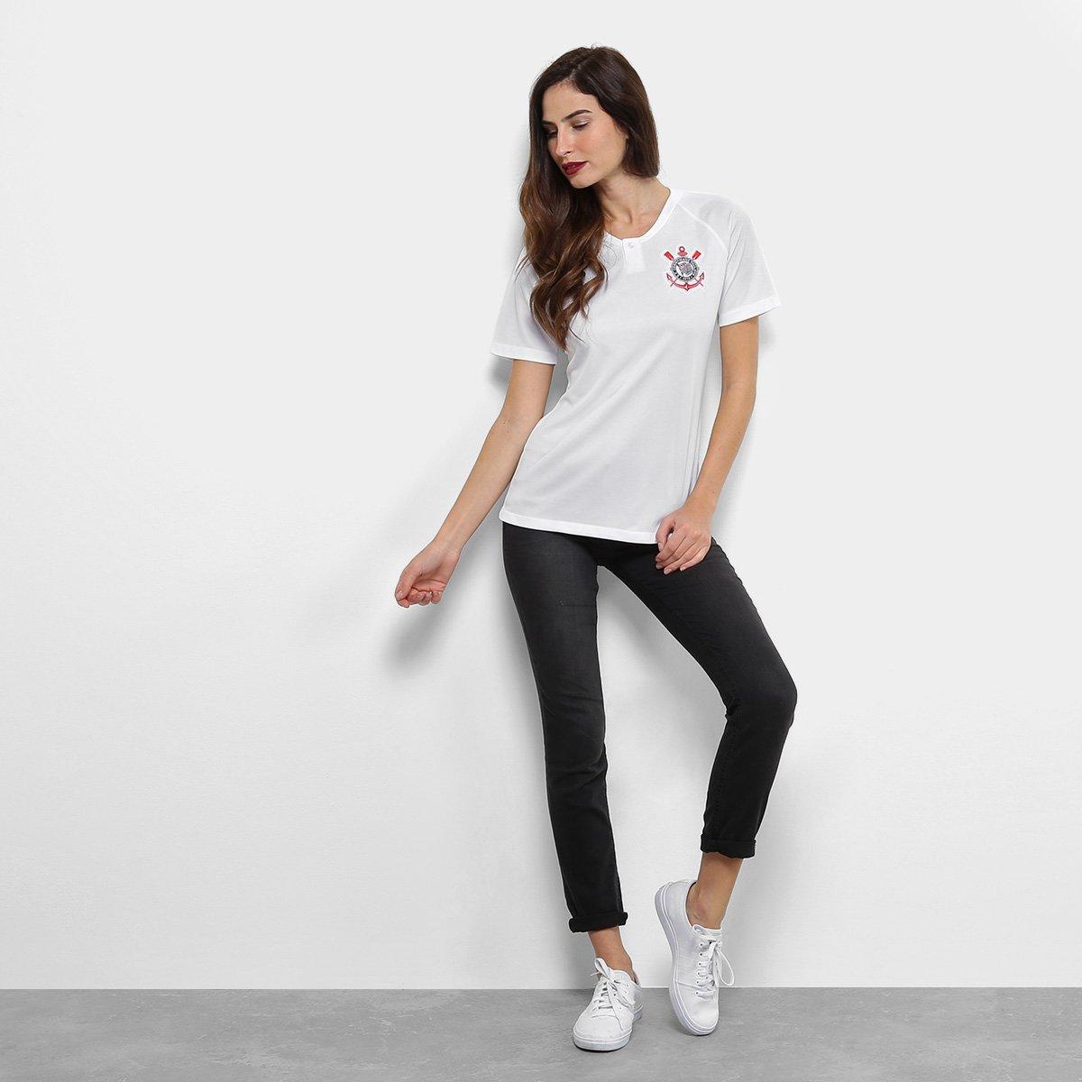 7f9737f54c Camisa Corinthians I 18 19 s n° - Torcedor Nike Feminina - Branco e ...