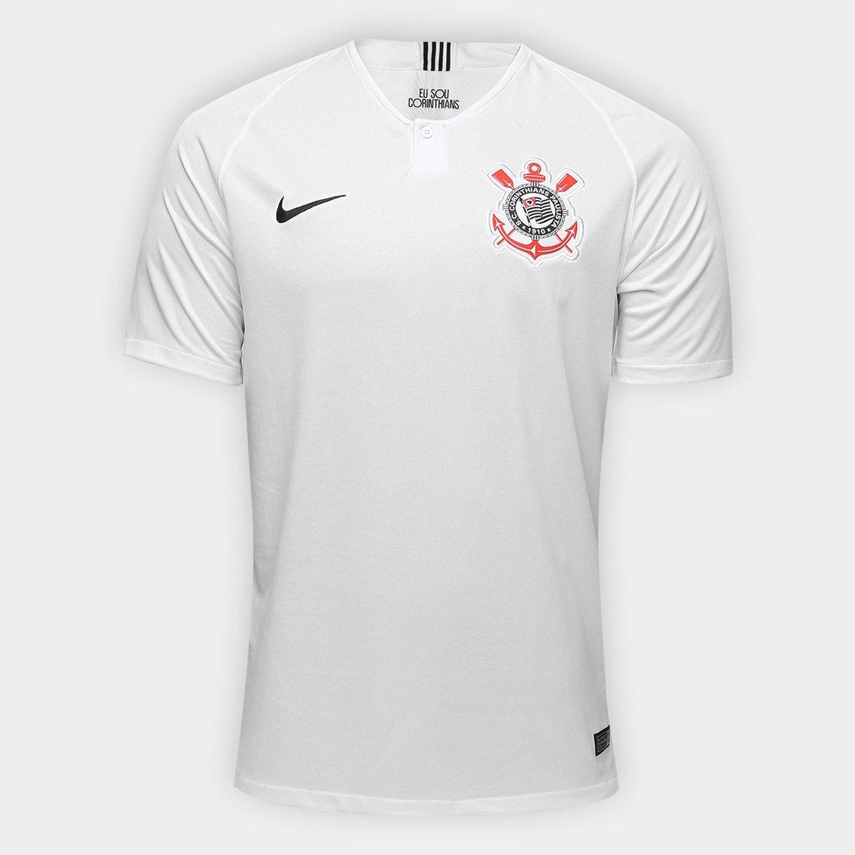 ca303e243fa11 Camisa Corinthians I 18 19 s n° Torcedor Nike Masculina - Branco e Preto -  Compre Agora