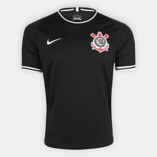 Camisa Corinthians II 19/20 s/nº Torcedor Nike Masculina - Preto+Branco