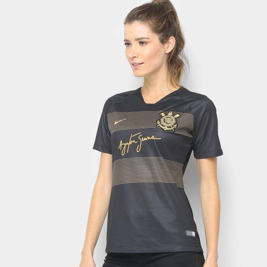 Camisa Corinthians III 2018 s/n° - Torcedor Nike Feminina - Preto+Dourado