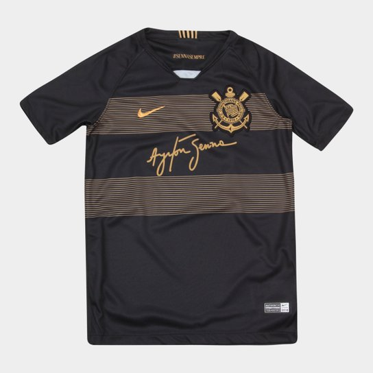 Camisa Corinthians Infantil III 2018 s/n° - Torcedor Nike - Preto+Dourado