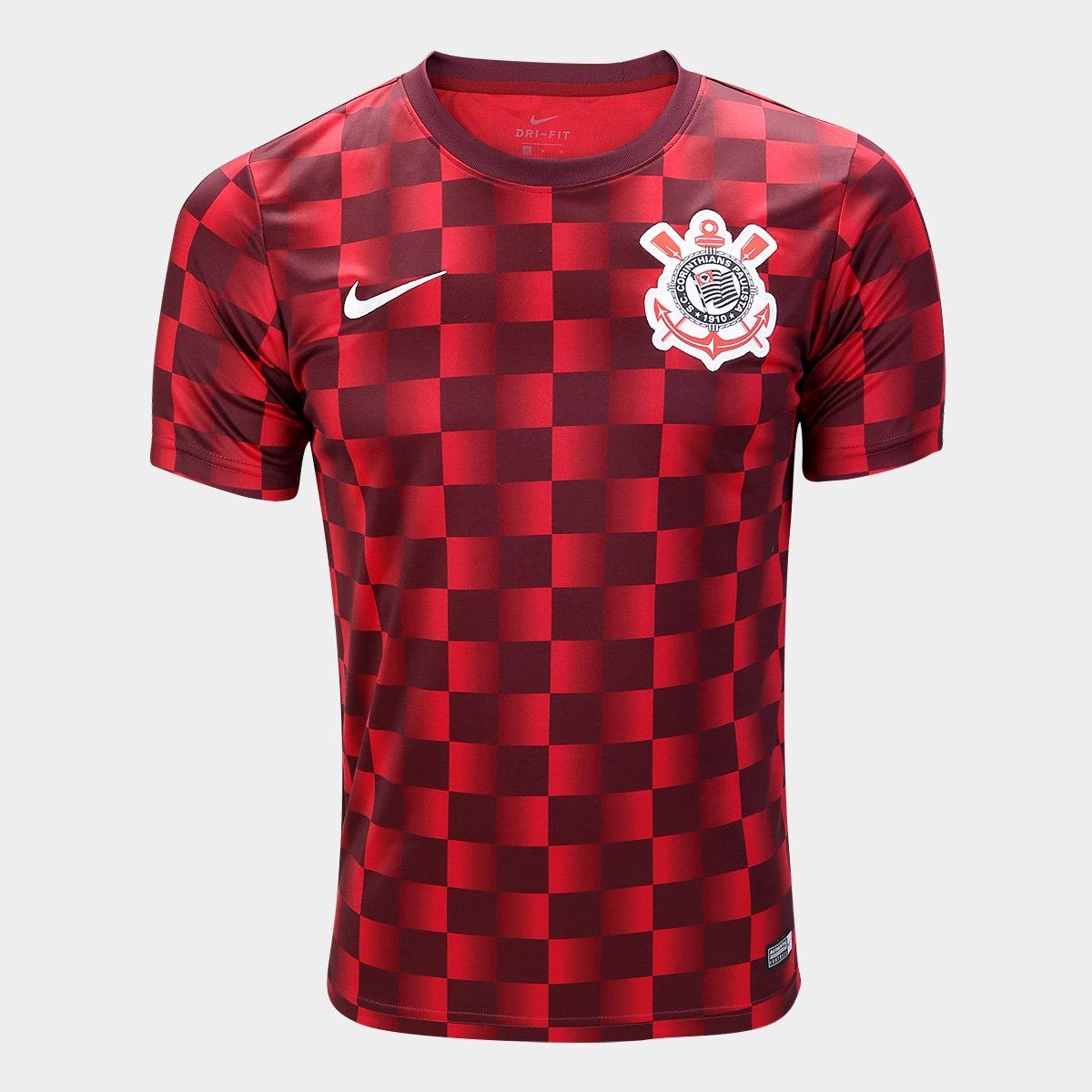 5f22b15ac8 Camisa Corinthians Pré Jogo 19 20 Nike Masculina - Marrom e Vermelho -  Compre Agora