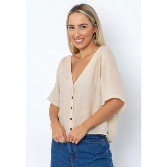 Camisa Cropped Botões Feminina Le Julie