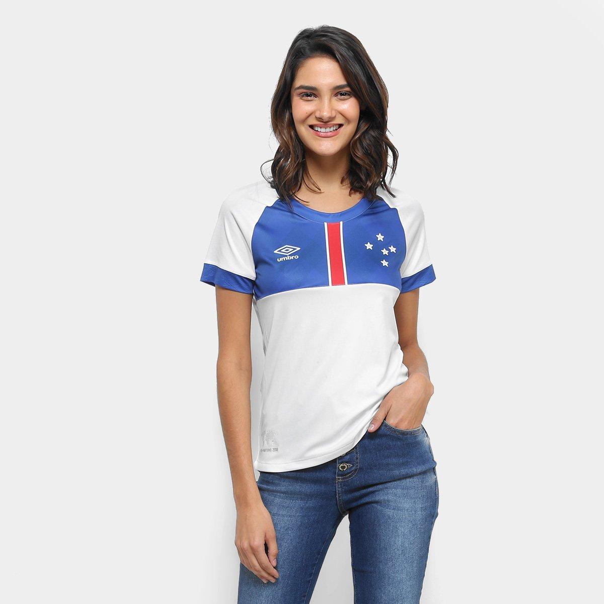 1b46f1e9c36c6 Camisa Cruzeiro II 2018 s n° Blár Vikingur - Torcedor Umbro Feminina -  Branco e Azul - Compre Agora